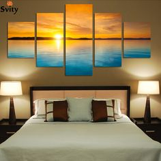 Fashion 5 Pieces Landscape Canvas Painting Blue Sea and sunset HD large wall paintings no framed F243