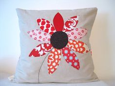 "Red flower cushion cover: free motion applique, summer flower,  linen, cotton, 16"" / 40cm."