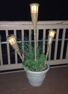 Solar, Outdoor Lighting, Solar Tiki Torches, Outdoor Patio Solar Lighting,  Potted Plants