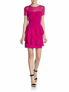 Short Sleeve Sweetheart Illusion Dress Saks Off 5th