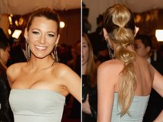 Blake Lively is queen of the ponytail remix! This versatile style would work for a casual summer party.