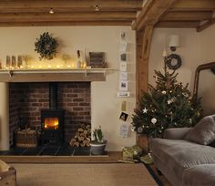 A lovely reader asked for a Christmas styled Border Oak home and so I searched my archives and found this - our home, decorated for Christma. Log Burner Fireplace, Inglenook Fireplace, Fireplaces, Basement Fireplace, Fireplace Redo, Wood Burner, Fireplace Ideas, Fireplace Design, Cottage Living Rooms