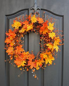 Fall wreath Autumn Wreaths for door  Berry wreath by OurSentiments, $70.00