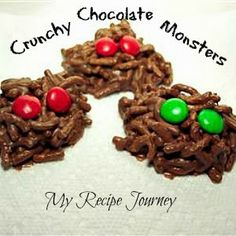 Crunchy Chocolate Monsters...easy, healthier Halloween treat!