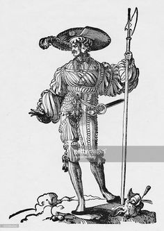 1532 - An engraving from an original woodcut by Erhard Schoen.  A German Landsknecht mercenary foot soldier with his Halberd and Katzbalger sword.
