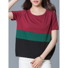 Color Block Round Neck Short Sleeve T-Shirt (1.570 RUB) ❤ liked on Polyvore featuring tops, t-shirts, short tops, cotton tee, short t shirt, short sleeve tops and sleeve t shirt