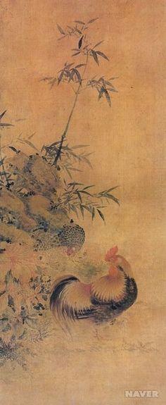 1890년 경에 그려진 장승업의 작품 <죽원양계(竹園養鷄)>는 장닭의 화려한 모습을 묘사하고 있다. 대나무와 풀이 자라고 있는 바위 틈새를 어미 닭과 병아리가 열심히 뒤지고 있다.