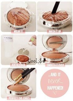 I was actually excited when my bronzer powder broke so I could try this - it totally worked!! Had to use a lot more alcohol than I thought it would take, took a couple hours to dry, and voila, like new again!