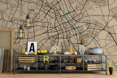 Vintage Style Custom City Map Mural Any City and Size City Wallpaper, Unique Wallpaper, Constellation Map, Visualisation, Scandinavian Home, Texture, Baby Prints, Wall Murals, Office Decor