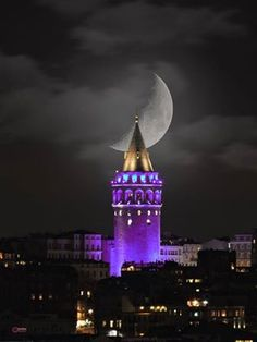 This Pin was discovered by Fil Istanbul City, Istanbul Travel, Beautiful Moon, Beautiful Places, Color Splash, Architecture Antique, Shoot The Moon, Moon Photos, Moon Photography
