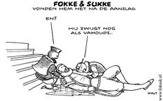 Dutch Cartoon Fokke and Sukke about the reconstruction of Willem of Oranges death