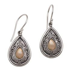 Gold accent dangle earrings, 'Dewdrop Leaves' - Sterling Silver and 18k Gold Plated Earrings (image 2a)