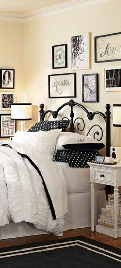 Ruched Quilt, iron bed and the black frames on the wall, very cute