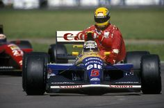 July of was marked by an iconic scene in Ayrton Senna took a ride on Nigel Mansell's Williams. Remember the full story, involving that. F1 Wallpaper Hd, F1 Motor, Motor Sport, Williams F1, Nigel Mansell, Formula 1 Car, F1 Drivers, F1 Racing, Car And Driver