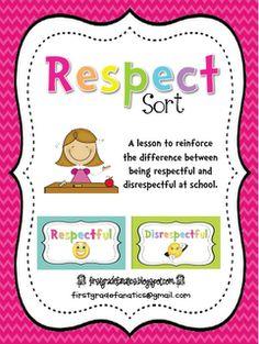 Respect Sort: First Grade Fanatics: October 2012 Respect Activities, Teaching Respect, Counseling Activities, Career Counseling, Therapy Activities, Teaching Resources, Elementary School Counseling, School Social Work, School Counselor