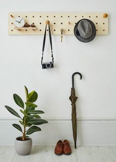 "Peg-it-all ""Skinny"" Pegboard: Wall-mounted Storage Panel in natural wood Plywood Storage, Pegboard Storage, Entryway Storage, Ikea Pegboard, Painted Pegboard, Kitchen Pegboard, Storage Rack, Diy Pared, Do It Yourself Quotes"