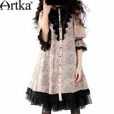 Artka Women's Lolita Series Perforated Fine Lace Swing Hem Chiffon Retro Blouse A09098 $129.73