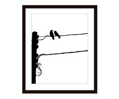 Love Birds Urban Power Line Digital Print - Black and White - Modern Contemporary Minimalist - Crows Black Birds Wall Art