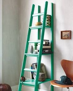 DIY ideas: Build your own ladder rack: From the ladder to the shelf - Home Accessories Trend Shelf Design, Diy Design, Upcycled Furniture, Diy Furniture, Types Of Furniture, Diy Interior, Ladder Bookcase, Diy Organization, My Room