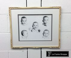Everyone loves a great baby picture, but paired with a #vintage frame and you've got perfection! We fit this recent #photo into our client's classic frame, making them work together by creating a bridge between the old and new using off white, brown and grey mats. UV glass was used to protect it. #photography #customframing #leframeshoppe
