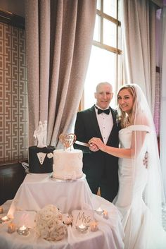 """Jessica and David went for a """"His and Hers"""" or a """"Mr."""" theme for their wedding cake which was created by O'Carrolls Cakes Wedding Suits, Our Wedding, Wedding Cakes, Wedding Venues, Wedding Dresses, Civil Ceremony, Industrial Wedding, Wedding Wishes, Rehearsal Dinners"""