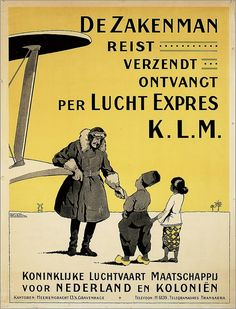 De zakenman reist, zendt, ontvangt per luchtexpres KLM