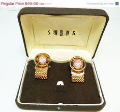 Swank Mesh CuffLinks - Round Pink Faceted Rhinestones - Designer Signed in Box