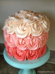 Chalkboard Blue: How to Make an Ombre Rosette Cake (** baby shower cake / cupcakes **)