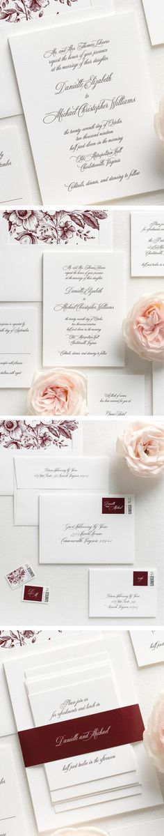 Letterpress wedding invitations are custom printed on an antique letterpress resulting in deep impressions and a dramatic embossed look.