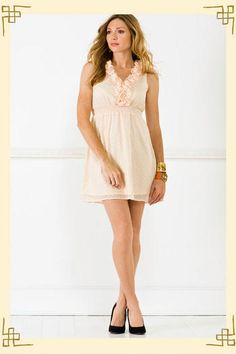Just bought this fun dress! You can't tell from the picture, but it has gold sparkley dots all over the dress! #francescas