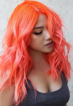 59 Fiery Orange Hair Color Shades: Orange Hair Dyeing Tips - Glowsly Orange Hair Bright, Orange To Blonde Hair, Burnt Orange Hair, Orange Hair Dye, Orange Shades, Peach Orange, Light Orange, Orange Hair Colors, Bright Colored Hair