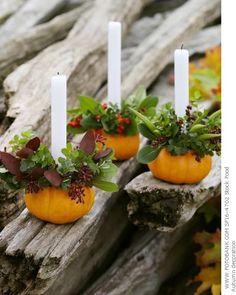 Love these pumpkin candle arrangements.