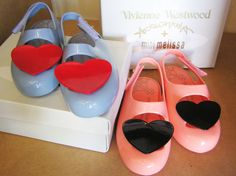 Vivienne Westwood Mini Melissas in Blue with Red Heart and Peach with Black Heart $150.00