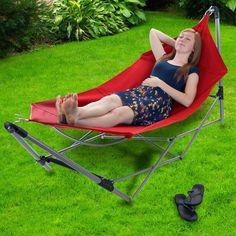 The Portable Hammock with Stand by Pure Garden is the perfect way to relax no matter where you are. Comfortable and durable, this hammock conveniently folds to fit into the included carrying bag, making it great for travel. Set it up in your backyard Backyard Hammock, Camping Hammock, Rain Camping, Hammock Ideas, Backpacking Hammock, Camping Cabins, Portable Hammock, Frame Stand, Hammock Stand