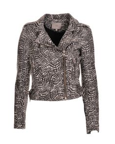 Black and white printed IRO leather jacket