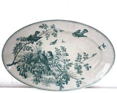 """LARGE 16.5"""" 1900 French Sarreguemines Oval Dish - with BIRDS """"PRINTEMPS"""""""