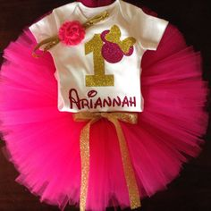 Hot Pink and gold Minnie Mouse first by ASweetBabyBoutique on Etsy