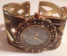 New Beautiful Geneva Gold Wide Style Bangle Cuff Watch #Geneva #Fashion