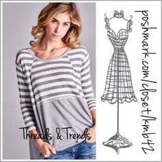 Easy wear Knit Top Grey and white stripped color block knit top with a empire bodice top. Loose comfy fit. Made of a knit cotton blend. Size S, M, L Threads & Trends Tops