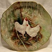 Gorgeous Limoges Porcelain Hand Painted Charger ~ Rooster and Hen in Forest ~ William Guerin Limoges France For sale on Ruby Lane Best Egg Laying Chickens, Chickens And Roosters, Painted Plates, Hand Painted, Delft, Chicken Plating, Decoupage, Rooster Decor, Hens And Chicks