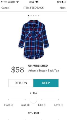 I'm curious about the button back on this Stitch Fix plaid top.