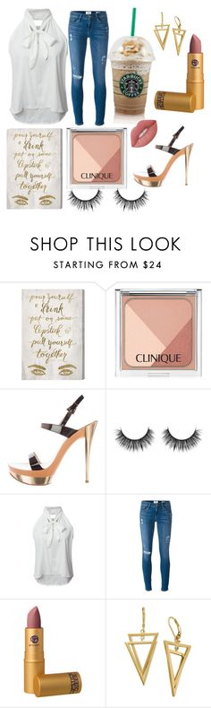 """""""Untitled #170"""" by brooklyndarling ❤ liked on Polyvore featuring Oliver Gal Artist Co., Clinique, Casadei, WithChic, Frame Denim, Lipstick Queen and Lime Crime"""