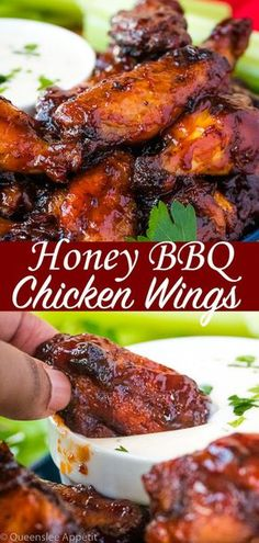 bbq These Honey BBQ Chicken Wings are juicy, tender and flavourful. Theyre covered in a blend of spices, baked to a crisp and then tossed in the best Honey BBQ Sauce! Honey Bbq Chicken Wings, Chicken Wing Sauces, Chicken Wing Recipes, Honey Wings, Honey Bbq Sauce Recipe For Wings, Bbq Wings Recipe Oven, Baked Wings Recipe, Bbq Chicken Wings Marinade, Chicken Wing Dipping Sauce