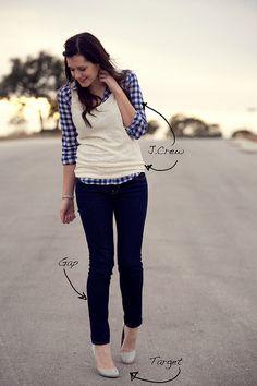 White Glitter Tank + Blue Gingham Check Shirt + Black Pants + Grey Pumps