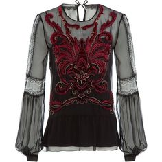 Alberta Ferretti Embroidered and Embellished  Silk Blouse ($1,290) ❤ liked on Polyvore featuring tops, blouses, shirts, black, black silk blouse, see through blouse, sheer sleeve blouse, sheer shirt and shirts & blouses