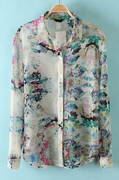Long Sleeve Floral Chiffon Blouse