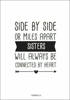 Side by side of miles apart SISTERS will always be connected by heart ♥