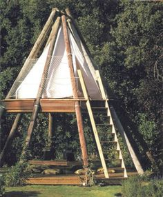 Garden Design Wood Outdoor Office - the teepee consists of reclaimed wood including old British Telecom telegraph poles along with contains a communal desk on the ground floor with seating set into the decking Outdoor Office, Outdoor Living, Glamping, Camping Am Meer, Outdoor Reisen, Garden Design, House Design, Bell Tent, Play Houses