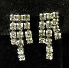 Parco Prov Signed Earrings Lovely Silver Tone Rhinestone Dangles | eBay