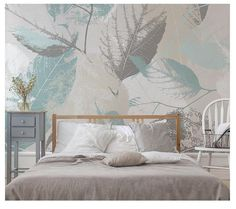 Nordic Modern Simple Leaf Wallpaper Wall Murals, Grey Mint Leaves Wall Decals, Sofa Bedroom Restaura Grey Floral Wallpaper, Flowers Wallpaper, Wallpaper Wall, Wall Stickers, Wall Decals, Mural Wall, Custom Wall Murals, Open Wall, Cleaning Walls